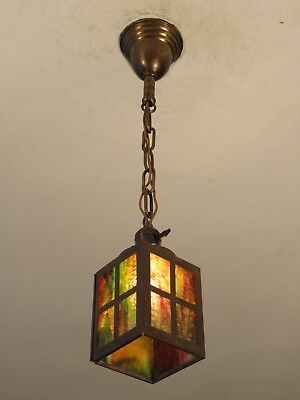RESTORED! Early c. 1890 Antique Slag Glass Light Fixture Great Colors