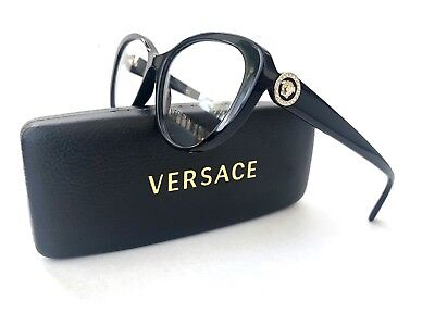 New VERSACE Frames Black Gold Cat Eye Acetate RX Eyeglasses 3246-B GB1 54-17-140