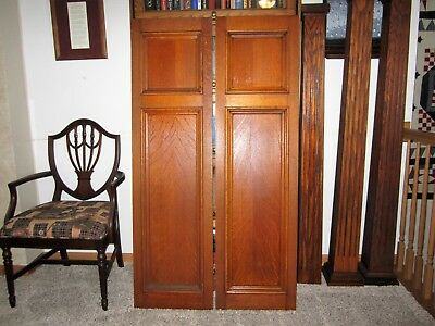 Pair HUGE Tiger Oak Library Architectural Panels Victorian Gothic Church Doors?