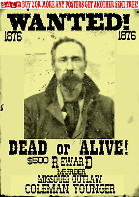 Old West Wanted Poster Outlaw James Younger Dalton Kid Reward Bank Train Rob