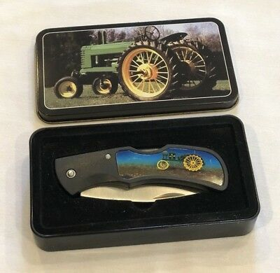JOHN DEERE Tractor Collector Pocket KNIFE with TIN Stainless Blade