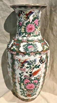 "Antique Chinese Export Rose Medallion Vase 14"" Tall Signed Excellent Condition"