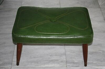 Vintage Mid Century  Danish Green  Bench Abstract Four Petal Flower stitching