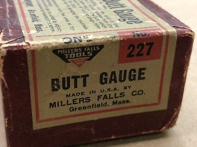 Millers Falls Butt Gauge #227 In Original Box With Instructions on Box