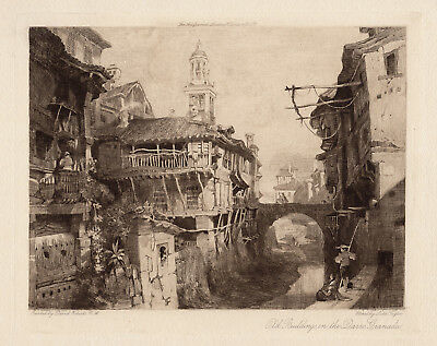 "David ROBERTS 1900s Etching ""Buildings on the Darro Granada"" Framed Signed COA"