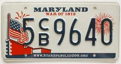"Colorful Maryland ""War of 1812"" License Plate, 9640, US Flag Graphic, Fireworks"