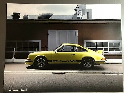 1973 Porsche 911 Carrera RS 2.7 Coupe Showroom Advertising Sales Poster RARE!!