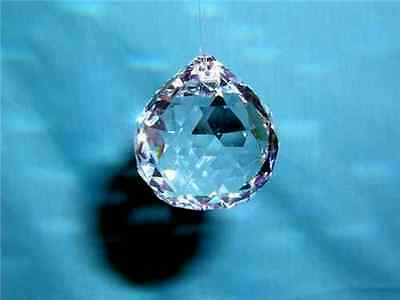 Crystal prism Ball faceted leaded with polished hole for hanging 1 1/2 inch dia