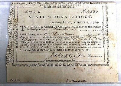 Rare State Of Connecticut Treasury Note Feb 1,1789 Jeddiah Huntington Treasurer