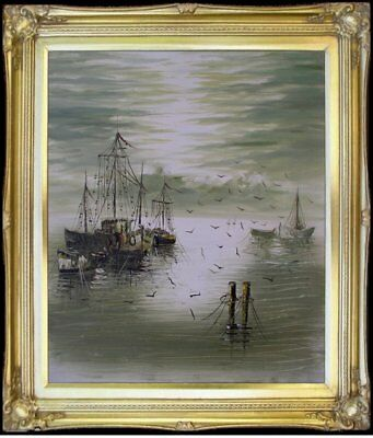 Framed, Impression Fishing Boats, Hand Painted Oil Painting  20x24in