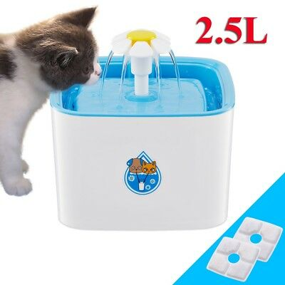 2.5L Flower Automatic Pet Drinking Fountain Bowl Filter Dog Cat Water Dispenser