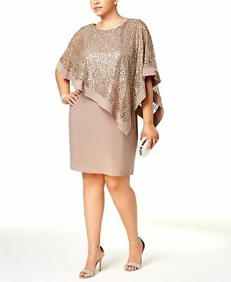 53b1232236bf2  294 R m Richards Women s Brown Sequin-Lace Cocktail Cape Sheath Dress Size  16W