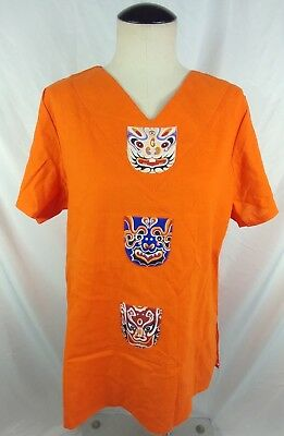 Deliniao Women's V- Neck Top Size XL Orange Linen New with Tags