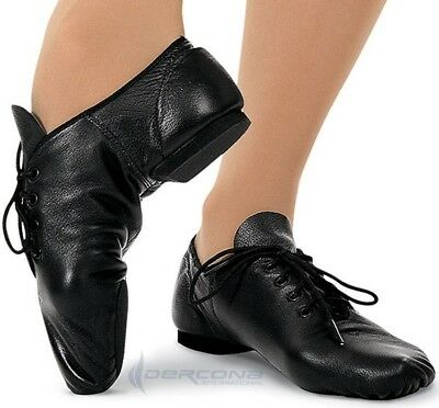 Jazz Dance Shoes 100% Leather  Split Sole Rubber Heel Handmade Modern Stage Jazz