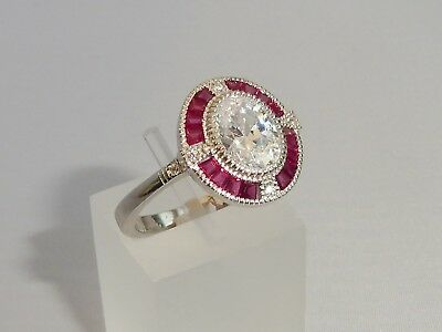 Ladies Art Deco Halo Design 925 Sterling Solid Silver Sapphire & Ruby Ring