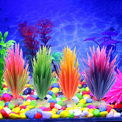 Artificial Grass Lawn Plastic Water Plant Aquarium Fish Tank Ornament Decor G