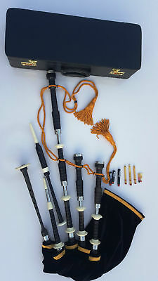 Great Highland African Black Wood Bagpipe with Velvet Bag Cover, H & H Mounts.
