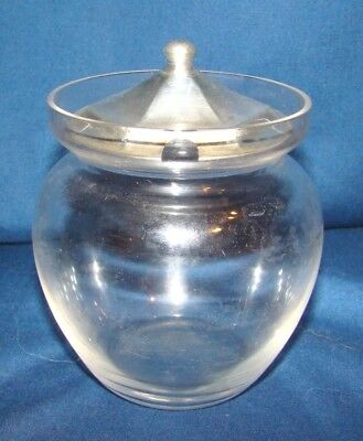 Vintage Glass Jam Jar w/ Sterling Lid