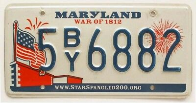 "Colorful Maryland ""War of 1812"" License Plate, 5BY68, US Flag Graphic, Fireworks"
