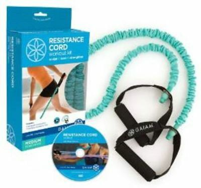 NEW COVERED MEDIUM RESISTANCE CORD +FUN DVD Workout +FREE Health & Fitness Bonus
