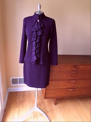 Luscious St John Collection Deep Plum Suit Skirt Jacket By Marie Gray Size 2