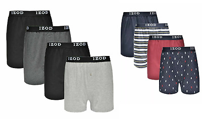 IZOD Mens Cotton Knit Boxers 4-Pack Button Fly Pick Color! New Free Shipping