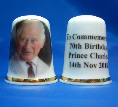 Birchcroft  Porcelain China Thimble - Prince Charles 70Th Birthday - Free Box