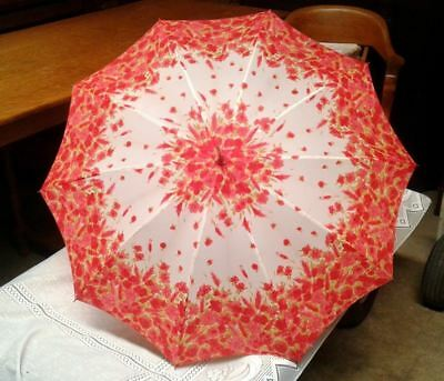 VTG RED Umbrella with Sleeve Lucite Handle Red White Floral  JAPAN Vintage