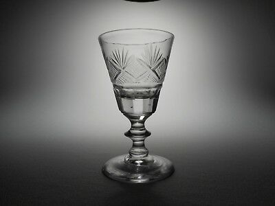 19th C. Bakewell, Page & Bakewell Blown & Cut, Fans & Diamonds Flint Glass Wine
