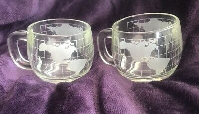 Lot 2 Nestle World Globe Atlas Etched/Frosted Glass Coffee Mugs Vintage Nescafe