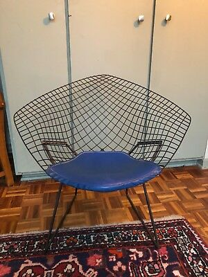 Original Black Bertoia Diamond Chair w/ Blue leather seat: Knoll International