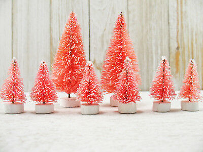 8 Vintage Style Miniature PINK Frosted Bottle Brush Sisal Trees Shabby Christmas