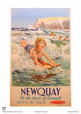Newquay Newquay Poster Railway Holiday Retro Vintage Travel Advertising