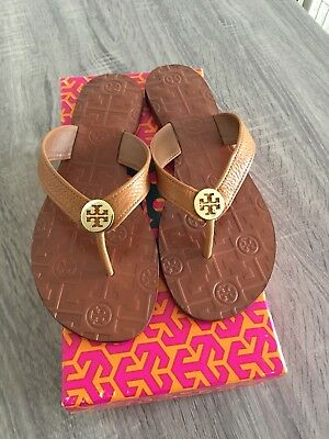 ad94369f30ede TORY BURCH THORA Royal Tan Gold Logo Tumbled Leather Size 11 New ...