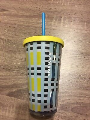 Starbucks Blue Yellow Plaid Cold Cup 16 oz Grande Beverage Tumbler