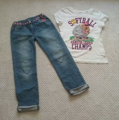 Girls Bulk Clothing ROXY Teenie Wahine Denim Jeans & Justice Hamster Tee Size 10