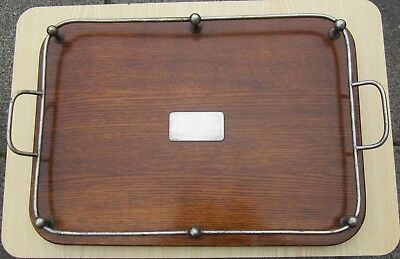 Antique Edwardian oak & silver plate gallery serving tray VGC