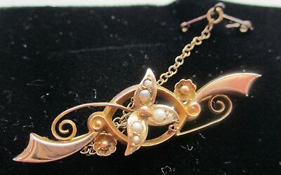 Antique  9ct gold & Seed Pearls brooch pin hallmark 1907 + safety chain