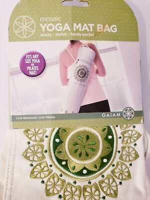 NEW Gaiam Mosaic Embroidered Yoga Mat Bag 24x6 + FREE Health & Fitness Bonuses!
