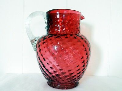 Lovely Antique Victorian Edwardian Ruby Cranberry Glass Water Drinks Jug Pitcher