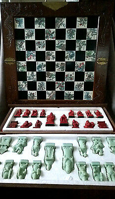 Stunning Vintage Chinese Carved Stone Chess Set Feng Shui Gods Wooden Art Box