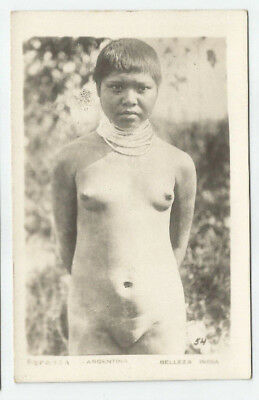 Ca.1920s ARGENTINA Indian nude woman real photo postcard