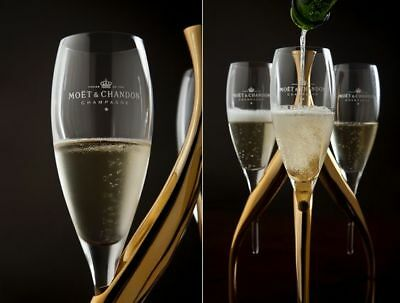 3 Moet Chandon Champagne Crystal Flutes Glasses & Philippe Di Meo Gold Stand