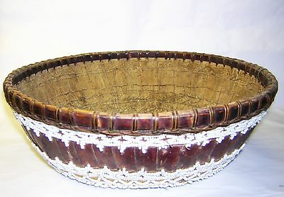 "Balinese Temple Offering Basket Antique Beaded Lombok Indonesia 20th c. 10"" dia"