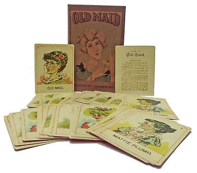 Old Maid Card Game Rare Version Reproduction -Victorian Trading - 38 Cards+Box