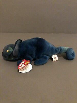 RARE 1997 Ty Beanie Baby Rainbow the Chameleon w/Iggy Fabric (No Tongue)