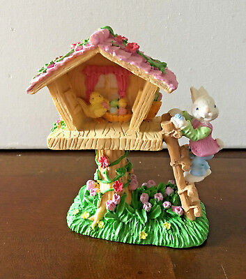 Easter Bunny Climbing Chick Tree House Resin Polystone Figurine