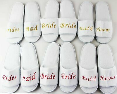 BRIDAL SLIPPERS Bride To Be Bridesmaid Maid of Honour Wedding White Pink Gold