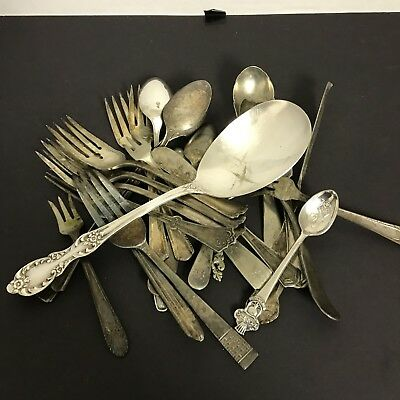 Lot Of 25 Vintage Silverplate Silverware Flatware Most Repurposing Quality.