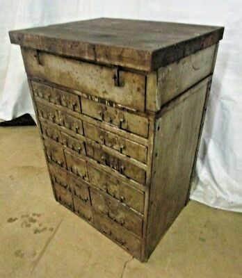 Vintage Industrial 18 Drawer Small Parts Hardware Cabinet w/ Butcher Block Top